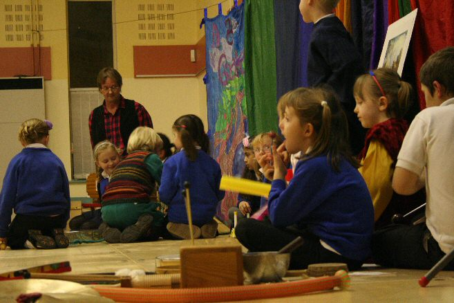 Pupils make music on stage