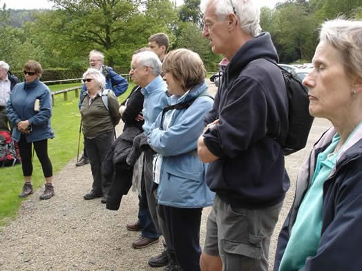 Walkers listen to talk by Dr Pickett